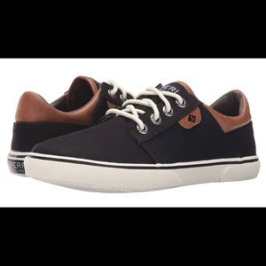 SPERRY TOP-SIDER Ollie Black Canvas Sneaker, Sz 3